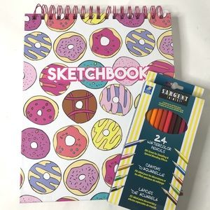 New sketchbook donuts 10.5x9 colored pencils set